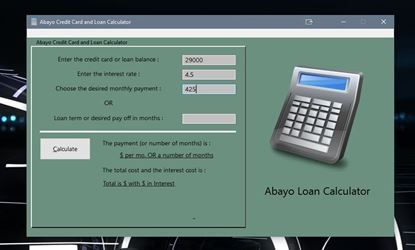 Picture of Loan Calculator and Personal Data Vault for Windows ® PC